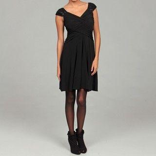 London Times Womens Black Sequin Embellished Criss cross Bodice Dress