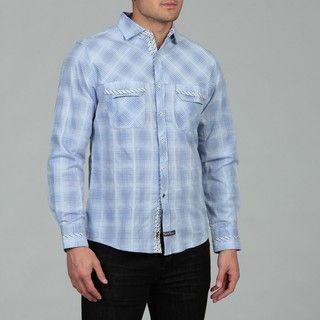English Laundry Mens Blue Woven Shirt