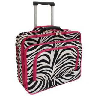World Traveler Pink Zebra Print Polyester Rolling Laptop Tote Today $