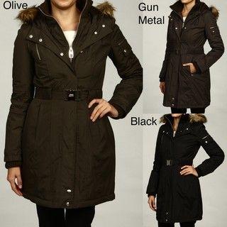 Miss Sixty Womens Hooded Faux fur Belted Coat FINAL SALE