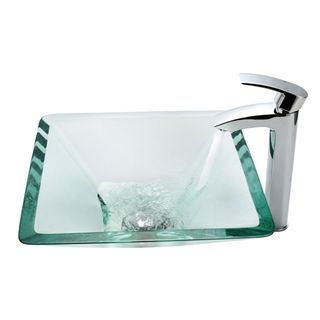 Kraus Aquamarine Clear Glass Sink and Visio Faucet