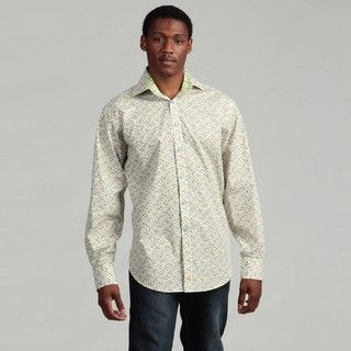 Thomas Dean Mens Green Floral Woven Shirt