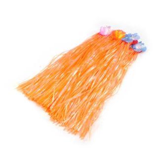 Jupe Vahiné orange 60 cm   Jupe Vahiné avec dessus fleurs pour
