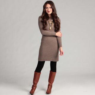 Cullen Womens Cashmere Long sleeve Crew Neck Sweater Dress