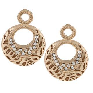 Alexa Starr Goldtone Rose Pattern Post Earrings