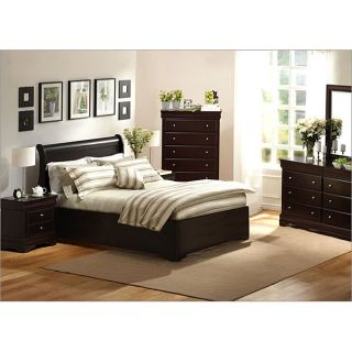 Classic 4 piece Low profile Queen Sleigh Bed Set