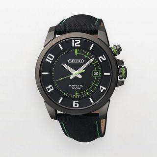Seiko Mens Kinetic Black/ Green Watch