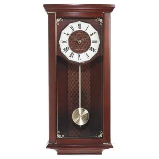 Seth Thomas Nora Mahogany Hardwood Chime Quartz Pendulum Wall Clock
