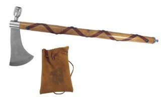 Indian Chief Peace Pipe Axe Hatchet Wood with Leather Wrap