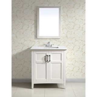 Salem White 30 inch Two Door White Marble Top Bathroom Vanity Set