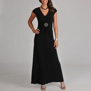Cachet Womens Jersey Knit Long Gown