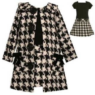 Bonnie Jean Girls 12M 16 Black/White Houndstooth Coat and