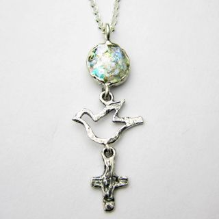 Sterling Silver Dove and Religious Dangle Roman Glass Necklace (Israel