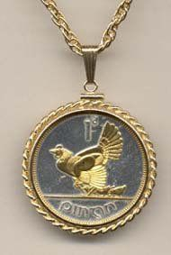 Irish Penny ÒChicken with ChicksÓ Two Tone Gold Filled