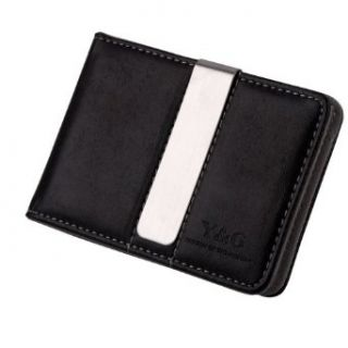 Gray Black Money Clip Wallet Leather 15 Card Holder and