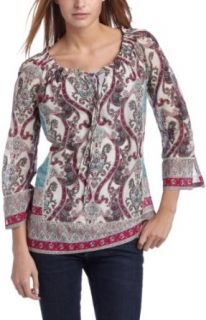 Lucky Brand Womens Nora Top,Pink Multi,Small Clothing