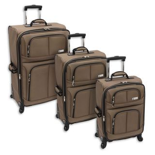 London Fog Nottingham Mocha 360 Spinner Expandable 3 piece Luggage Set