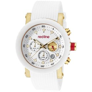Red Line Mens Compressor White Textured Silicone Watch