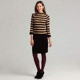 Calvin Klein Womens Striped Sweater Dress