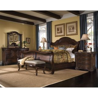 Queen size Corondo 4 piece Wood/ Leather Bedroom Set