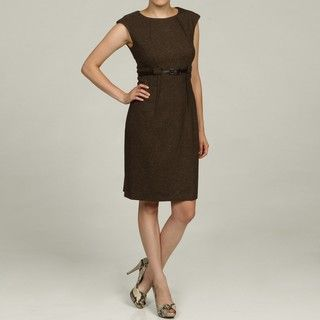 Connected Apparel Womens Brown Belted Dress