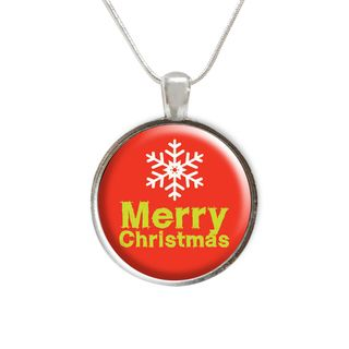 Merry Christmas with Snowflake Glass Pendant and Necklace