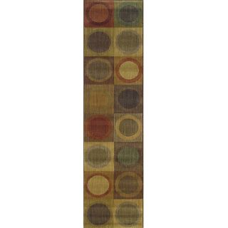 Ellington Green/Red Contemporary Area Runner Rug (111 x 76