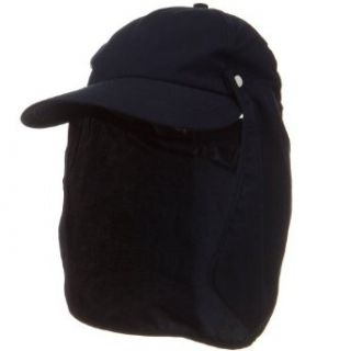 Water Repellent Microfiber Sun Block Flap Cap   Navy