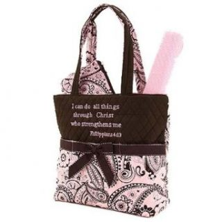 3pc Pink & Brown Paisley Quilted Diaper Tote Bag w