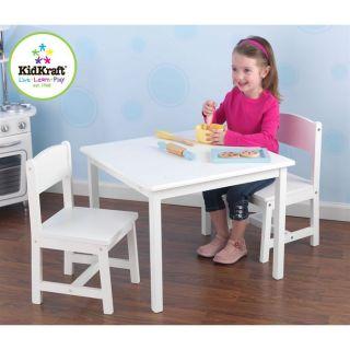 Ensemble table + 2 chaises blanc   Construction solide en bois   Pour