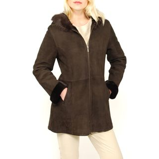 Lana Rafinattas Womens Spanish Merino Shearling Hooded Coat