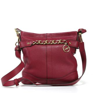 Coach North South Burgundy Leather Cross body Bag