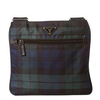 Prada Blue/ Green Plaid Nylon Cross body Bag