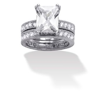 Ultimate CZ Sterling Silver Emerald cut Cubic Zirconia Bridal Ring Set