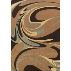 Alexa Abbey Modern Brown Paint Splatter Caricature Rug (82 x 115