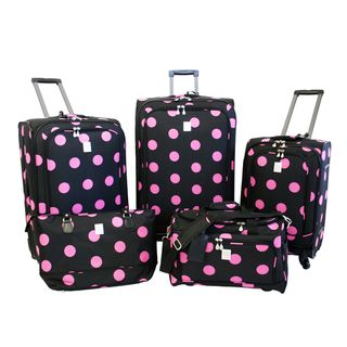 Jenni Chan Dots Black / Pink 5 piece Spinner Luggage Set