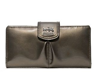 Coach Madison Patent Leather Credit Card Wallet 46618 Pewter Shoes