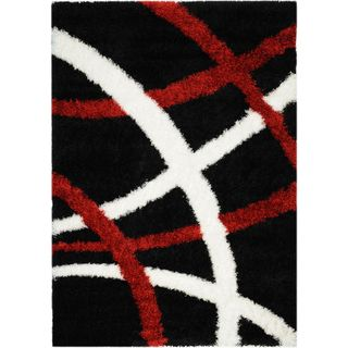 Black and Red Contemporary Tribal Stripes Shag Area Rug (33 x 47