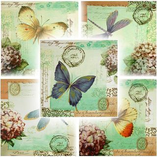 Set of 5 Dragonfly & Butterfly Canvas Wall Hangings (China