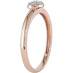 Miadora 10k Pink Gold 1/10ct TDW Diamond Heart Ring