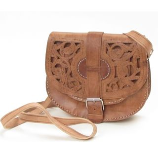 Womens Large Honey brown Cut out Design Leather Saddle Bag (Morocco