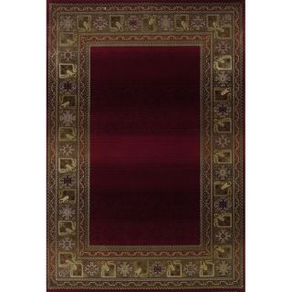 Baldwin Red/ Green Transitional Area Rug (99 x 122)
