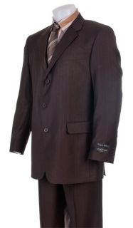 America Mens Dark Brown Pinstripe Super 120s Suit