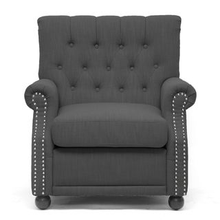 Lombardi Dark Grey Linen Modern Club Chair
