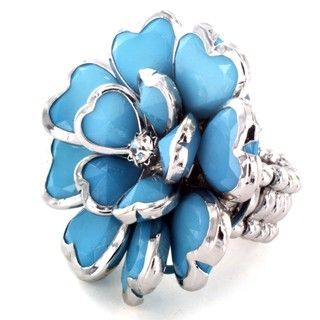 Polished Silvertone Turquoise Flower Heart Petal Stretch Ring