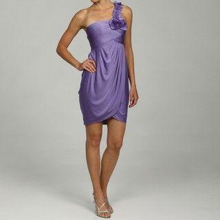 Adrianna Papell Womens One shoulder Embellished Flower Evening Dress