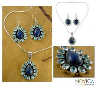 Lapis Lazuli Heavenly Flower Jewelry Set (India)