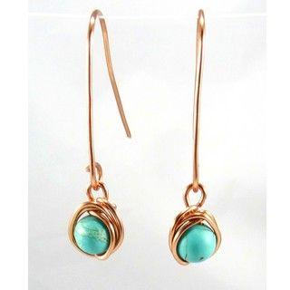 Pretty Little Style Copper Turquoise Wire Wrap Earrings
