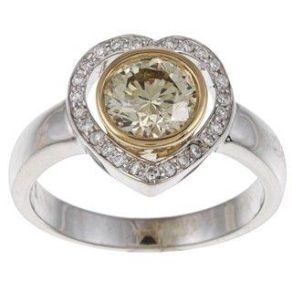 18k Two Tone Gold 1ct TDW Diamond Heart Ring (SI1)