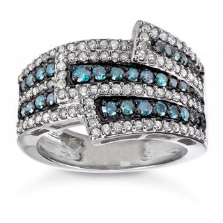 Sterling Silver 1ct Blue and White Diamond Cocktail Ring